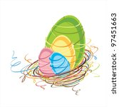 stylized easter nest with... | Shutterstock .eps vector #97451663
