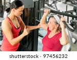 personal trainer assist senior... | Shutterstock . vector #97456232