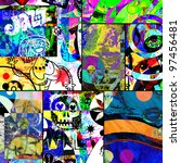 abstract graffiti collage ...   Shutterstock . vector #97456481