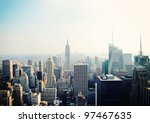 Stock photo new york city manhattan skyline aerial view with empire state building in the fog 97467635