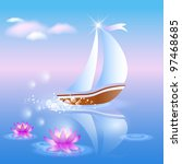 Sailing Boat And Violet Lilies...