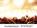 cheering crowd at concert   Shutterstock . vector #97470167