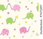seamless with cute elephants | Shutterstock .eps vector #97471097