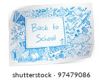 illustration of back to school doodle on paper - stock vector