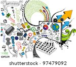 illustration of technology element coming out of computer monitor - stock vector