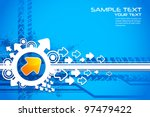 illustration of arrow on abstract futuristic background - stock vector