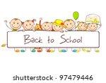 illustration of kids standing...   Shutterstock .eps vector #97479446