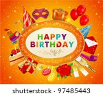 birthday card  with set of... | Shutterstock .eps vector #97485443