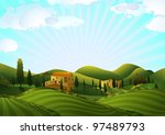 rural landscape with fields and ... | Shutterstock .eps vector #97489793
