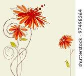 Cute Floral Card Vector...