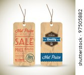 Old retro vintage grunge tags for premium quality and sale - stock vector