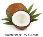 Coconut with leaves - stock photo