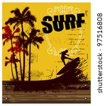 Surf Poster With Wood Banner