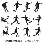 best movements of soccer player | Shutterstock .eps vector #97518779