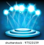 Blue Background With Round Stage And Light