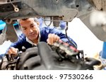 mechanic fixing an engine of a... | Shutterstock . vector #97530266