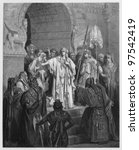 Small photo of Queen Vashti refusing to obey the command of Ahasuerus - Picture from The Holy Scriptures, Old and New Testaments books collection published in 1885, Stuttgart-Germany. Drawings by Gustave Dore.
