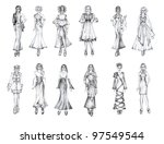 set of pencil hand drawn... | Shutterstock . vector #97549544