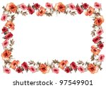 Stock photo flowers frame in white background isolated 97549901