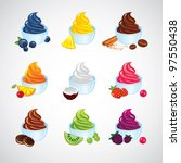 set of frozen yogurt icons | Shutterstock .eps vector #97550438