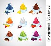 set of frozen yogurt icons | Shutterstock .eps vector #97550438