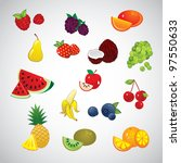 set of fruits and berry | Shutterstock .eps vector #97550633