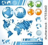 the earth   set of maps and... | Shutterstock .eps vector #97553660