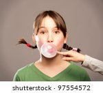 young girl making a bubble from ... | Shutterstock . vector #97554572