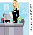 cartoon secretary | Shutterstock .eps vector #97555307