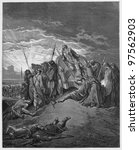 Small photo of The death of Ahab - Picture from The Holy Scriptures, Old and New Testaments books collection published in 1885, Stuttgart-Germany. Drawings by Gustave Dore.