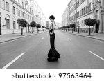 very beautiful girl in retro... | Shutterstock . vector #97563464