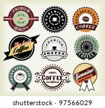 vector set of  coffee labels... | Shutterstock .eps vector #97566029