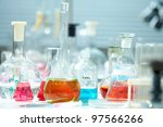 image of glass flasks with... | Shutterstock . vector #97566266