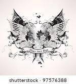 grunge heraldic vintage design | Shutterstock .eps vector #97576388