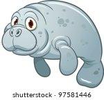 cute cartoon manatee. vector...