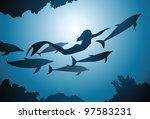 the mermaid and flight of... | Shutterstock .eps vector #97583231
