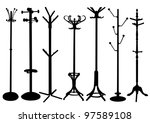 hat stand silhouette set   Shutterstock .eps vector #97589108