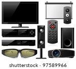 home theater equipment   Shutterstock .eps vector #97589966