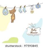 baby shower invitation card   Shutterstock .eps vector #97593845