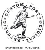 soccer stamp mark with player