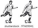 two models of soccer player | Shutterstock .eps vector #97605041