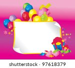 Bright Holiday composition of balloons, gift boxes, confetti,, sweets, serpentine, and a sheet of paper for your text congratulations - stock photo