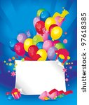 Bright Holiday composition of balloons, gift boxes, confetti,, sweets, Streamer, and a sheet of paper for your text congratulations - stock photo