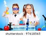two children making science... | Shutterstock . vector #97618565