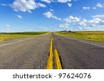 asphalt country road in america - stock photo