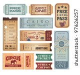 Vintage tickets vector collection. Retro tickets on old paper texture. - stock vector