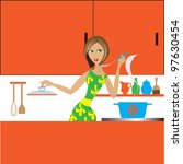 the girl in kitchen tries soup... | Shutterstock .eps vector #97630454