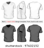 vector. men's v neck t shirt... | Shutterstock .eps vector #97632152