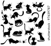 cats silhouettes   poses  vector | Shutterstock .eps vector #97639787