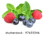 Berry with twigs of mint - stock photo
